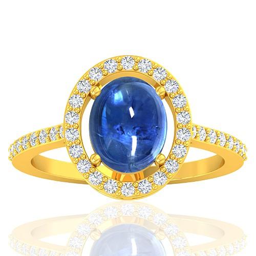 18K Yellow Gold 2.81 cts Blue Sapphire Stone Diamond Engagement Women Ring