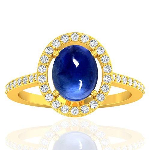 18K Yellow Gold 2.26 cts Blue Sapphire Stone Diamond Designer Fine Jewelry Ring