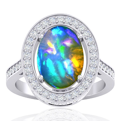 14K White Gold 3.47 cts Ethiopian Opal Stone Diamond Cocktail Women Fine Jewelry Ring