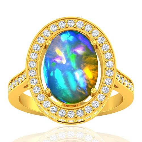 18K Yellow Gold 3.47 cts Ethiopian Opal Stone Diamond Cocktail Women Fine Jewelry Ring