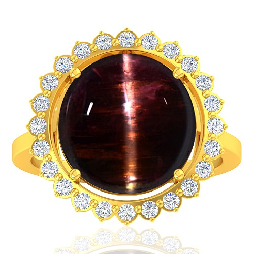 18K Yellow Gold 10.03 cts Tourmaline Stone Diamond Engagement Women Fine Jewelry Ring