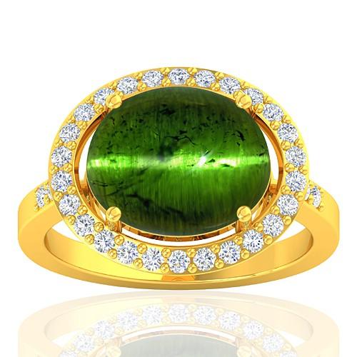 18K Yellow Gold 6.36 cts Tourmaline Gemstone Diamond Cocktail Women Engagement Ring