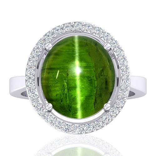14 White Gold 9.12 cts Tourmaline Gemstone Diamond Cocktail Designer Fine Jewelry Ring