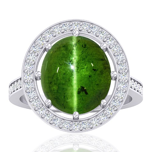 14 White Gold 6.55 cts Tourmaline Stone Diamond Vintage Engagement Designer Fine Jewelry Ring
