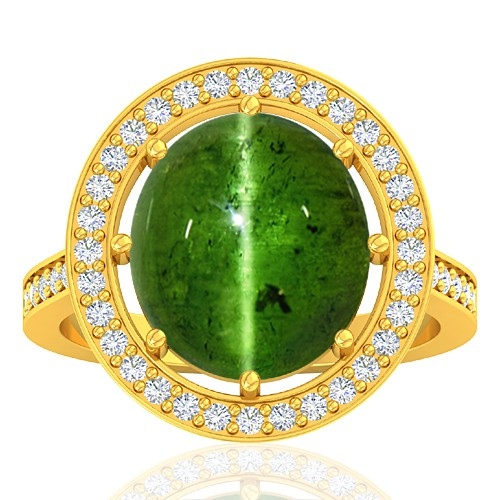 18K Yellow Gold 6.55 cts Tourmaline Stone Diamond Vintage Engagement Designer Fine Jewelry Ring