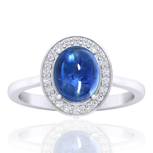 14K White Gold 2.81 cts Sapphire Stone DiamondWomen Wedding Designer Fine Jewelry Ring
