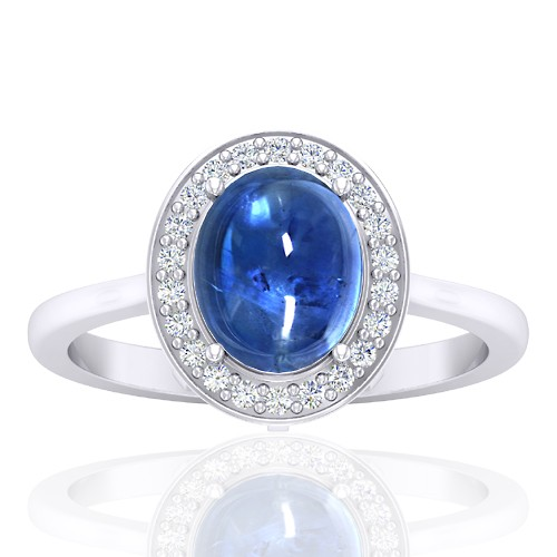 14K White Gold 2.81 cts Sapphire Stone DiamondWomen Wedding Designer Fine Jewelry Ring