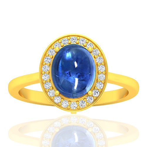 18K Yellow Gold 2.81 cts Sapphire Stone DiamondWomen Wedding Designer Fine Jewelry Ring