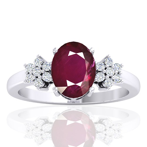 14K White Gold 2.08 cts Ruby Stone Diamond Designer Fine Jewelry Ring