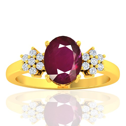 18K Yellow Gold 2.08 cts Ruby Stone Diamond Designer Fine Jewelry Ring
