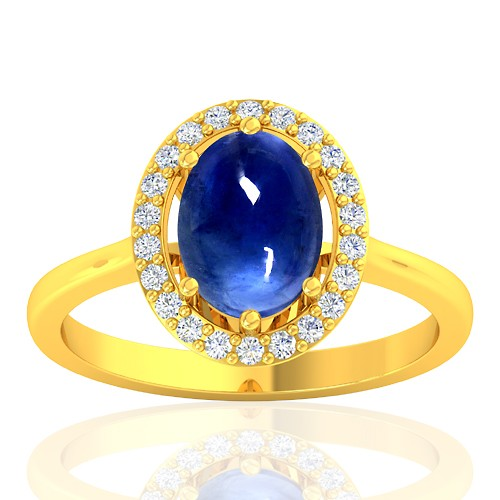 18K Yellow Gold 2.26 cts Blue Sapphire Gemstone Diamond Women Designer Fine Jewelry Ring