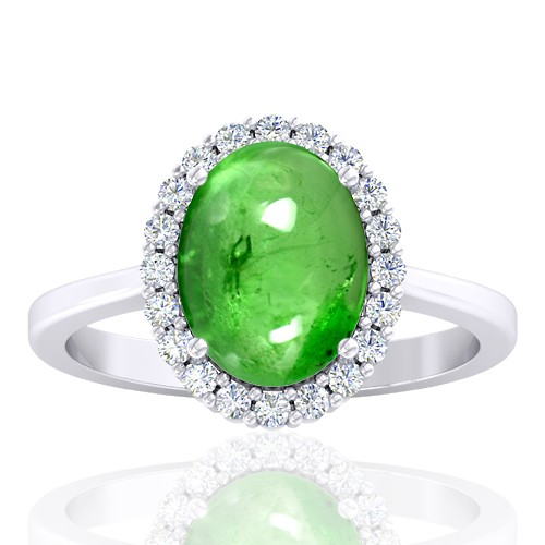 14K White Gold 3.75 cts Tsavorite Gemstone Diamond Engagement Women Jewelry Ring