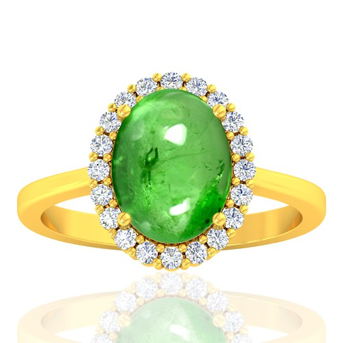 18K Yellow Gold 3.75 cts Tsavorite Gemstone Diamond Engagement Women Jewelry Ring