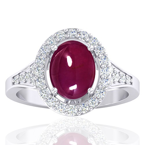 14 White Gold 3.05 cts Ruby Gemstone Diamond Cocktail Vintage Engagement Fine Jewelry Ring
