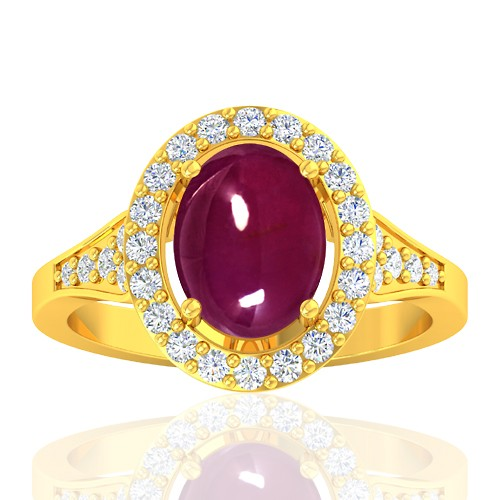 18K Yellow Gold 3.05 cts Ruby Gemstone Diamond Cocktail Vintage Engagement Fine Jewelry Ring