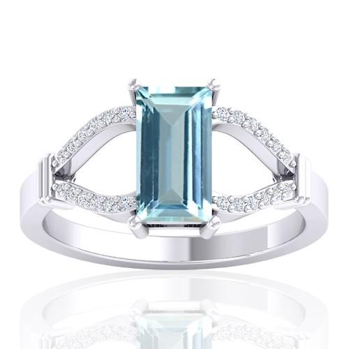 14K White Gold 1.19 cts Aquamarine Stone Diamond Wedding Fine Jewelry Ring