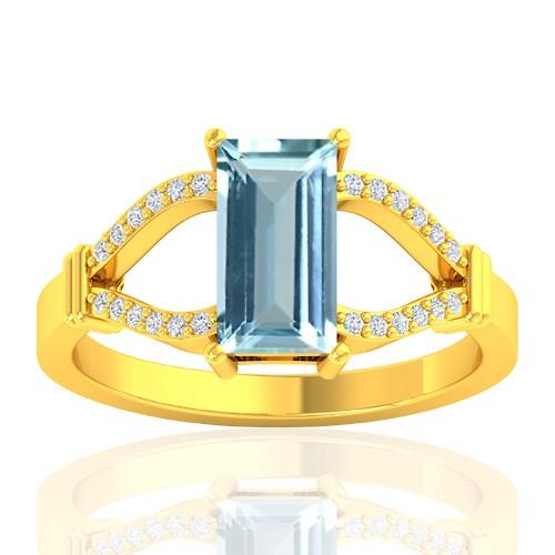 18K Yellow Gold 1.19 cts Aquamarine Stone Diamond Wedding Fine Jewelry Ring