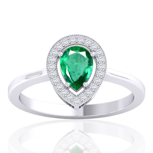 14K White Gold 0.68 cts Emerald Stone Diamond Cocktail Vintage Engagement Ring