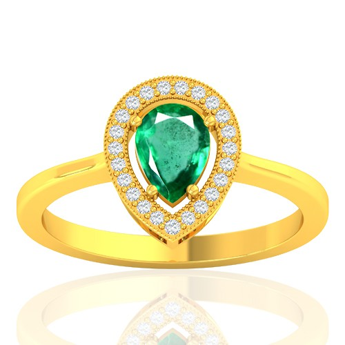 18K Yellow Gold 0.68 cts Emerald Stone Diamond Cocktail Vintage Engagement Ring