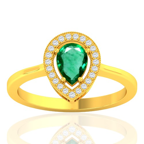 18K Yellow Gold 0.61 cts Emerald Gemstone Diamond Women Wedding Designer Fine Ring