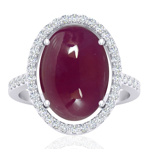 14K White Gold 13.12 cts Ruby Gemstone Diamond Cocktail Designer Fine Jewelry Ring