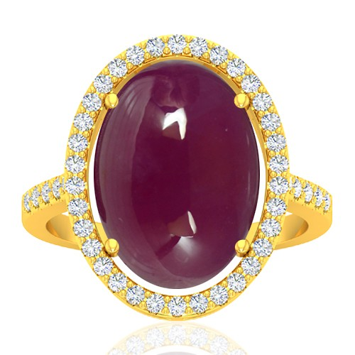 18K Yellow Gold 13.12 cts Ruby Gemstone Diamond Cocktail Designer Fine Jewelry Ring