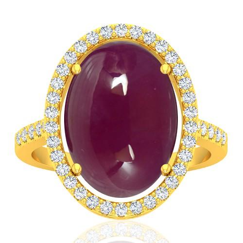 18K Yellow Gold 13.12 cts Ruby Gemstone Diamond Cocktail Designer Fine Jewelry Ring