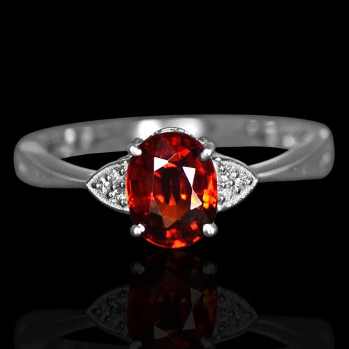 14k W Gold Natural 1 46 Cts Red Orange Spessartite Garnet